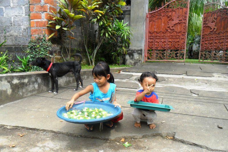 Urlaub Bali: Auch Kinder bereiten auf Bali den Göttern und Dämonen Opfergaben