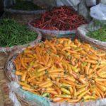 Chilis auf dem Großmarkt in Bangkok