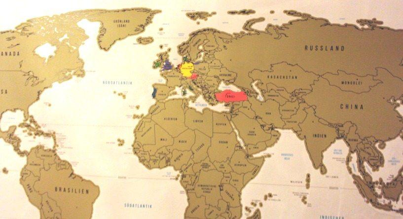 Weltkarte zum Abrubbeln - schönes Geschenk für Ferndurstige