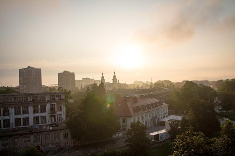 Der Blick von unserem AirBnB-Balkon in Ljubljana am Morgen