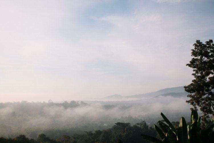 Morgennebel über den Bergen von Chiang Dao in Thailand