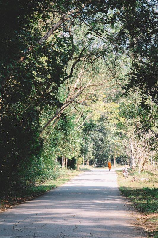 Mönch auf dem Weg zum Tempel