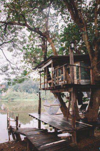Weltreise Highlight in Thailand: Baumhaus in Ayutthaya