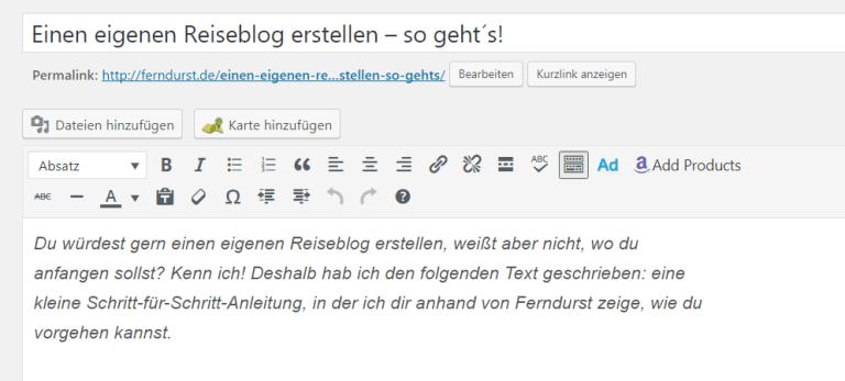 Reiseblog erstellen - der WordPress-Editor