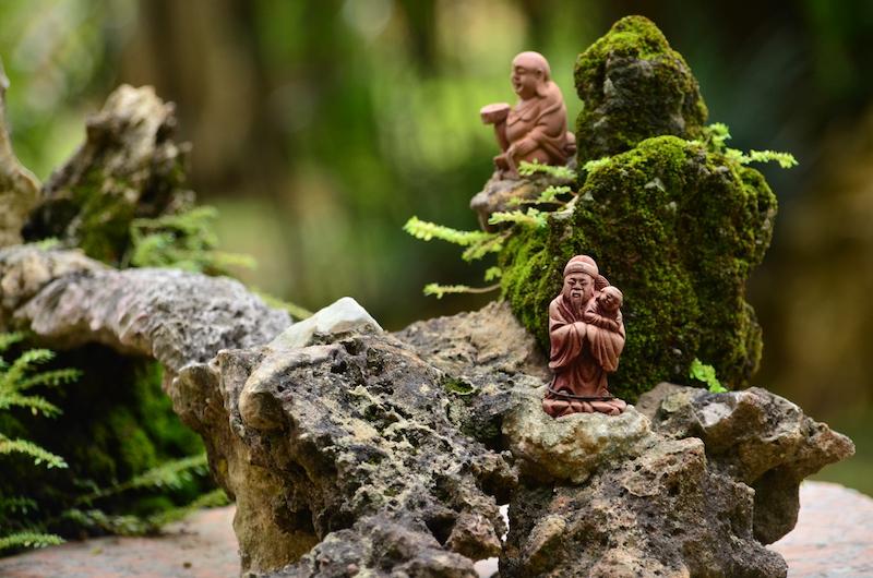 Im Zen Garden beim Kek Lok Tempel in Ipoh, Malaysia