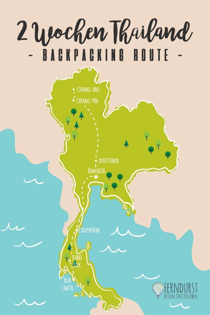 Thailand Backpacking Route für 2 Wochen