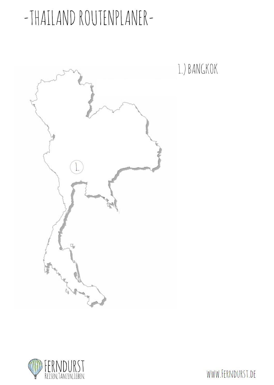 Thailand Backpacking Route - Karte zum Ausdrucken und Ausfüllen