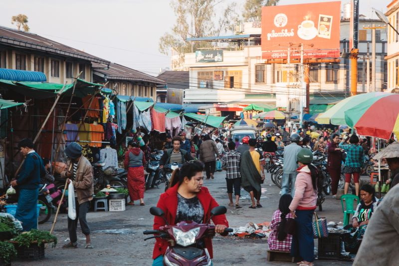 Markt in Pyin Oo Lwin in Myanmar